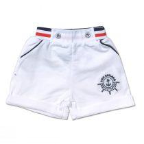 Bermuda Neonato Maschietto In Cotone Bianco Con Ancora Ricamata In Contrasto Blu Luglio Lu799