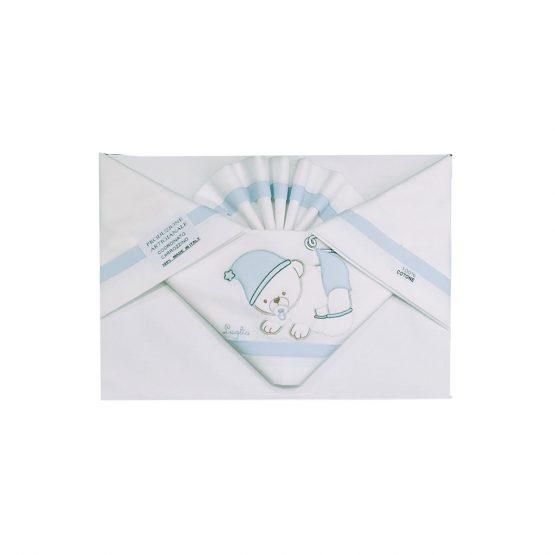 Coordinato Carrozzino In Cotone Cielo Luglio Con Orsetto Ricamat0 Lug008C