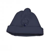 Cappello Maschietto In Ciniglia Blu Con Pompon E Ricamo A Tono Con Il Capo Luglio Lu825
