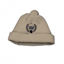 Cappello Maschietto In Ciniglia Beige Con Pompon E Ricamo Blu In Contrasto Luglio Lu825