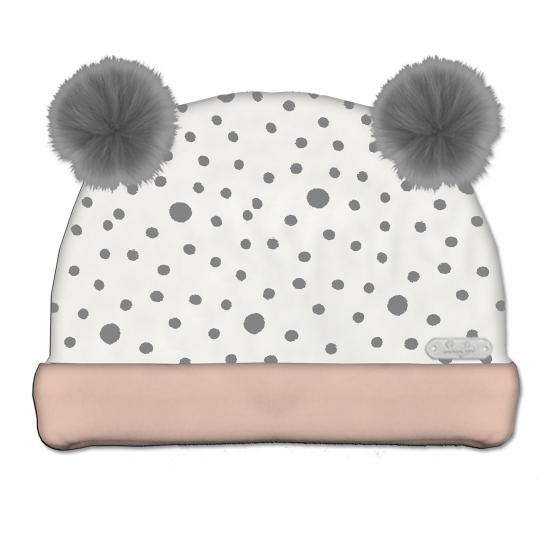 Cappello Neonata In Ciniglia Bicolore Bianco E Rosa Con Fantasia A Pois E Due Pompon Grigi Applicati Luglio Lu837