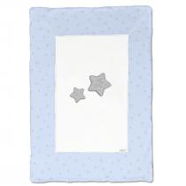 Coperta In Ciniglia Bicolore Bianca E Cielo Con Stelle Disegnate In Contrasto Luglio Lu857
