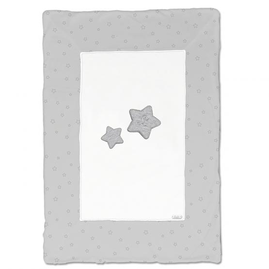 Coperta In Ciniglia Bicolore Bianca E Grigia Con Stelle Disegnate In Contrasto Luglio Lu857