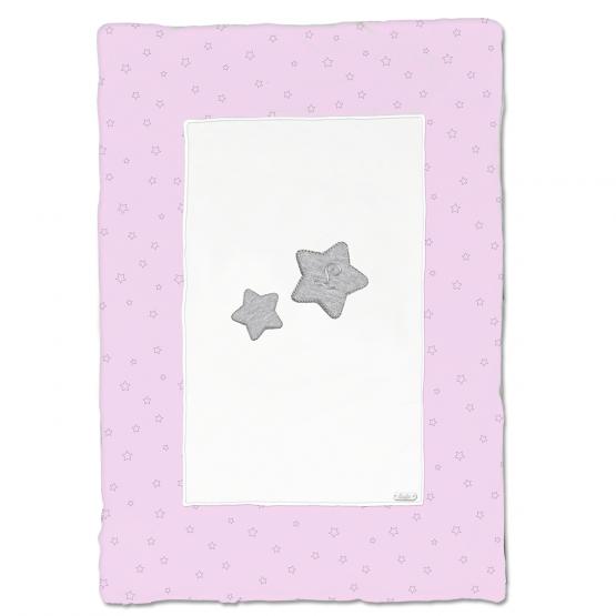 Coperta In Ciniglia Bicolore Bianca E Rosa Con Stelle Disegnate In Contrasto Luglio Lu857