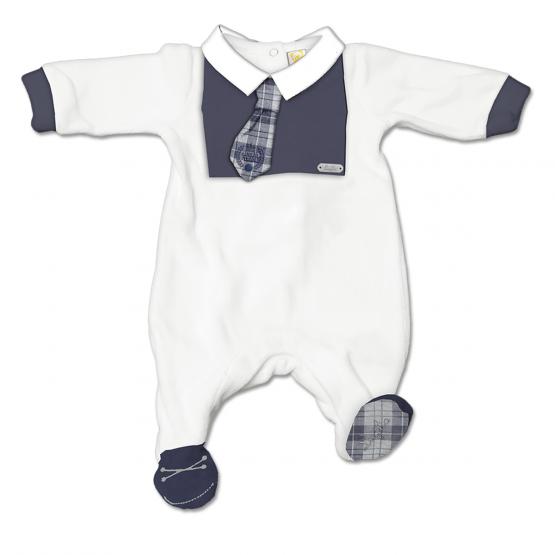 Tutina Maschietto In Ciniglia Bicolore Bianca E Blu Con Cravatta Scozzese Luglio Lu827