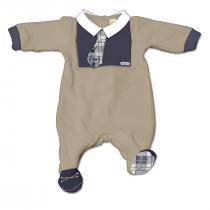 Tutina Maschietto In Ciniglia Bicolore Beige E Blu Con Cravatta Fantasia Scozzese E Colletto Bianco In Contrasto Luglio Lu827