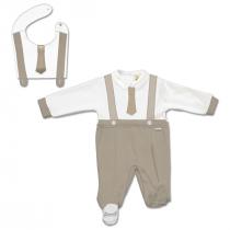 Tutina Maschietto Bicolore Bianca E Beige E Bavetta Staccabile Con Cravatta Applicata Luglio Lu888