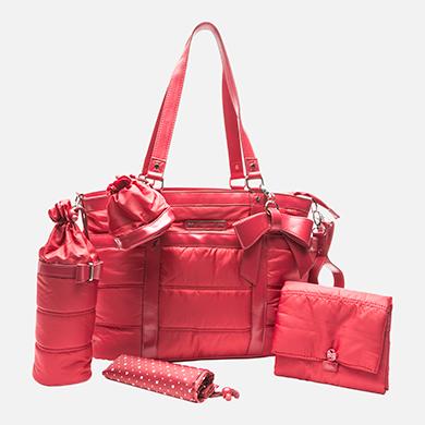 Borsa mamma in microfibra e similpelle con accessori colore Rosso