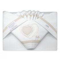 Coordinato lenzuola lettino Sopra sotto e federa cuscino con Cuori Ricamati Beige VER121L