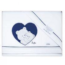 Coordinato lenzuola lettino Sopra sotto e federa cuscino con Orsetti e Cuore Ricamati Blu VER45-16L