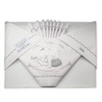 Coordinato lenzuola lettino Sopra sotto e federa cuscino con Orsetti Ricamati Grigio VER56-16L