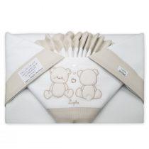 Coordinato lenzuola lettino Sopra sotto e federa cuscino con Orsetti Ricamati Beige VER81-18L